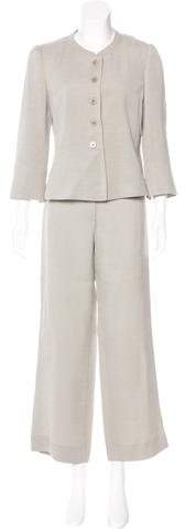 Armani Collezioni Wool-Blend Tailored Pantsuit