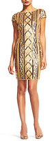 Adrianna Papell Boat Neck Cap Sleeve Scoop Back Patterned Sequin Dress