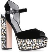 Gina Embellished Velvet Sia Platform Sandals, White, UK 7.5