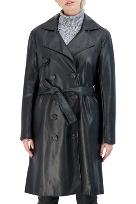 Sebby Collection Faux Leather Trench