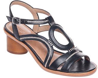Bernardo Cutout Leather Cylinder-Heel Sandals