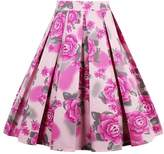 OFEEFAN Women Vintage Pleated Floral Print Knee Length A-line Skirt XL