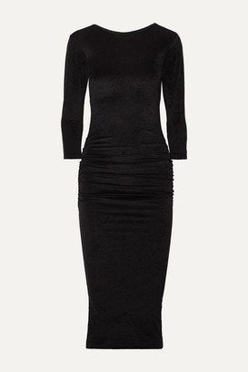 James Perse Gathered Stretch-velvet Midi Dress - Black