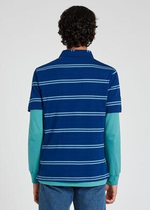 Paul Smith Men's Blue Stripe 'Happy' Cotton Polo Shirt