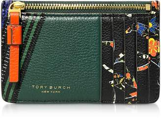 Tory Burch Floral Perry Mixed-Print Top-Zip Card Case