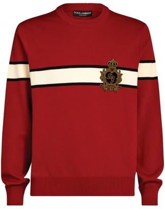 Dolce & Gabbana Crown Embellished Stripe Sweater