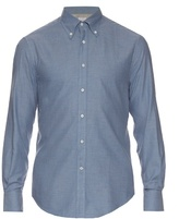 Brunello Cucinelli Long-sleeved Cotton Herringbone Shirt