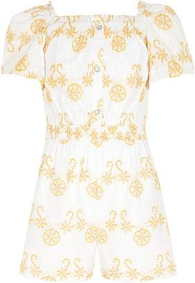 River Island Girls White broderie puff sleeve playsuit