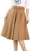 Cityelf Women's Autumn Winter High Waist Slim Mid-Long Fabric A-Line Skirt Q0088