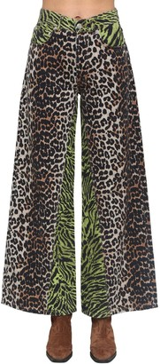Ganni Animalier Printed Wide Denim Pants