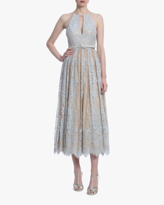 Badgley Mischka Lace Midi Cocktail Dress