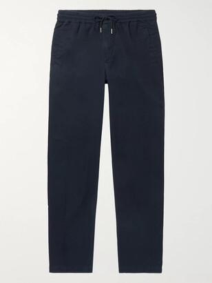 Folk Tapered Cotton-Twill Drawstring Trousers - Men - Blue