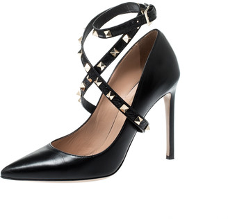 Valentino Black Leather Rockstud Trim Ankle Wrap Pointed Toe Pumps Size 39