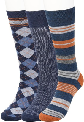 Haggar Men's Comfort Stripe Patterned Socks (3 pack)