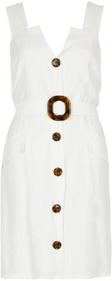River Island Belted Pinafore Dress - White
