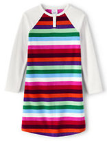 Classic Toddler Girls Fleece Raglan Sleeve Printed Gown-Evermint Multi Stripe