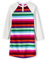 Lands' End Toddler Girls Fleece Raglan Sleeve Printed Gown-Evermint Multi Stripe