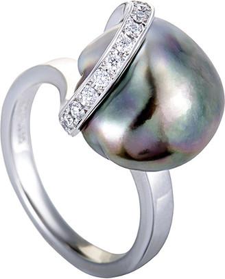 Mikimoto Platinum 0.15 Ct. Tw. Diamond & Pearl Ring