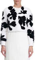 Oscar de la Renta Floral-Intarsia Cropped Sheared Mink Jacket
