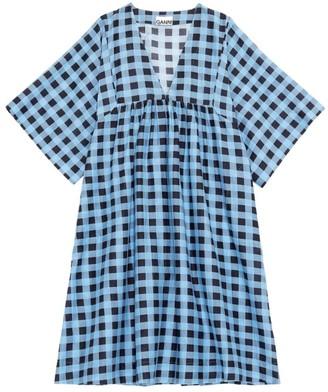 Ganni Check Cotton Silk Midi Dress