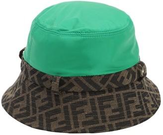 Fendi Logo Nylon & Canvas Hat