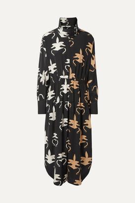 Tibi Cropped Printed Silk Crepe De Chine Jumpsuit - Black