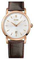 BOSS Round Leather Strap Watch, 40mm