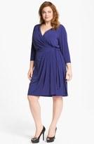 Suzi Chin for Maggy Boutique Jersey Faux Wrap Dress (Plus Size) Bluebird 18W