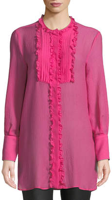 Etro Long-Sleeve Silk Georgette Tunic w/ Ruffled Pleated Bib