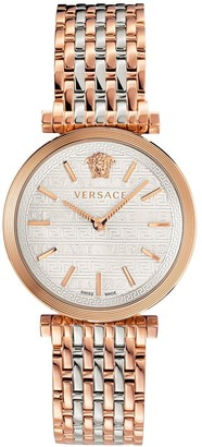 Versace Twist Mother of Pearl and Rose Gold Detail Dial Two Tone Stainless Steel Bracelet Ladies Watch