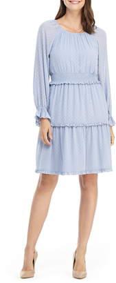 Gal Meets Glam Adeline Swiss Dot Smocked Long Sleeve Dress
