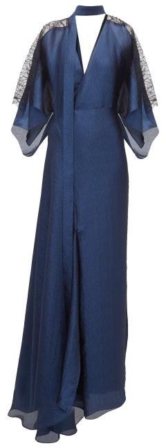 Roland Mouret Weston Draped Chiffon Gown - Womens - Navy Multi