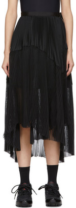 Sacai Black Pleated Wrap Skirt