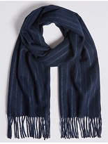 M&S Collection Tonal Pinstripe Wool Woven Scarf