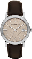 Burberry Watch, Men's Swiss Smooth Brown Leather Strap 38mm BU9011