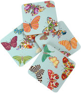 Mackenzie Childs MacKenzie-Childs S/4 Butterfly Garden Coasters, Sky