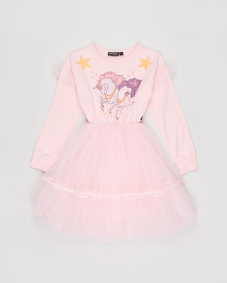 Rock Your Kid Cosmic Unicorn Long Sleeve Flounce Dress - Kids