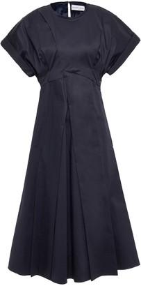 Carven Pleated Stretch-cotton Poplin Dress