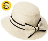 Siggi Womens UPF50 Vintage Cloche Bucket Bowler Straw Hat Summer Vacation Beige 55-57CM