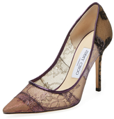 Jimmy Choo Abel Lace Pointed-Toe Pump