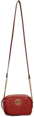 Gucci Red Mini GG Marmont Camera Bag