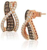 LeVian Chocolatier Chocolate Diamond, Vanilla Diamond and 14K Strawberry Gold Earrings