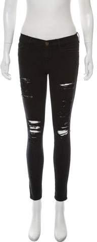 Frame Distressed Skinny Leg Jeans