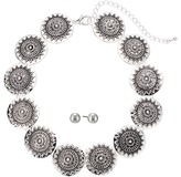 M&F Western - Silver Disc Choker/Earrings Set Jewelry Sets