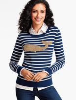 Talbots Whale & Nautical Stripe Tinsel-Decorated Sweater