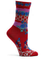 Ozone Red Floral Gates Socks