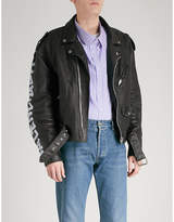 Balenciaga Painted logo leather biker jacket