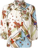 Etro flower trellis print puff sleeve blouse - women - Cotton - 40