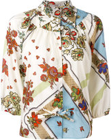 Etro flower trellis print puff sleeve blouse - women - Cotton - 42