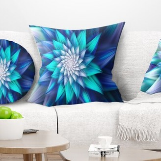 """East Urban Home Floral Large Exotic Colorful Flower Pillow Size: 16"""" x 16"""", Product Type: Throw Pillow, Color: Blue"""
